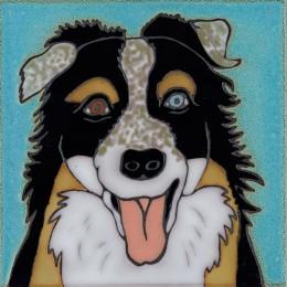 Australian Shepherd Dog- Hand Painted Ceramic Tile