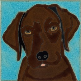 Chocolate Lab Pup - Hand Painted Art Tile