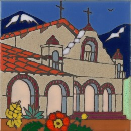 San Antonio Mission - Hand Painted Art Tile