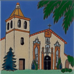 Santa Clara Mission - Hand Painted Art Tile