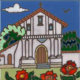 Dolores Mission - Hand Painted Art Tile