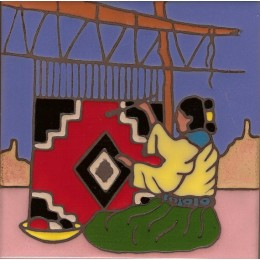 Navajo Weaver hand painted art tile