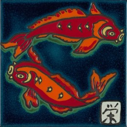Koi Fish - Hand Painted Ceramic Tile