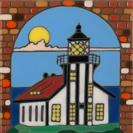 Lighthouse - Point Cabrillo - Hand Painted Art Tile