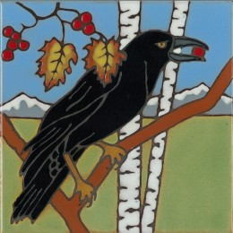 Raven - Hand Painted Art Tile