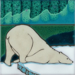 Aurora Borealis Polar Bear - Hand Painted Art Tile