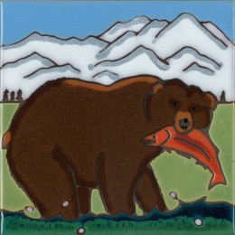 Grizzly Bear - Hand Painted Art Tile