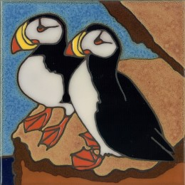 Pair of Puffins - Hand Painted Art Tile