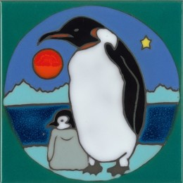 Penguin & Baby - Hand Painted Art Tile