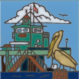 Pelican & Pier - Hand Painted Art Tile