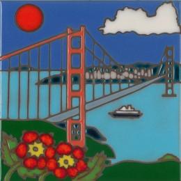 Golden Gate - Hand Painted Art Tile
