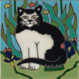 Black & White Cat - Hand Painted Art Tile
