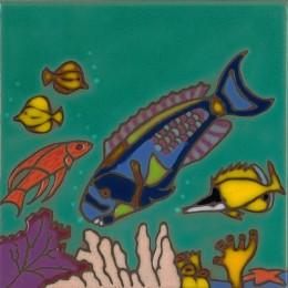 Parrot Fish - Hand Painted Art Tile