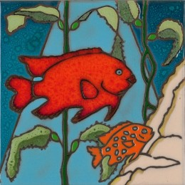 Garibaldi Fish and Baby - Hand Painted Art Tile