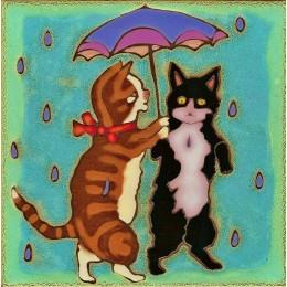 Kitties  Dancing in the Rain - Hand Painted Ceramic Tile