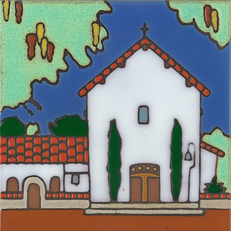 San Miguel Mission Hand Painted Art Tile