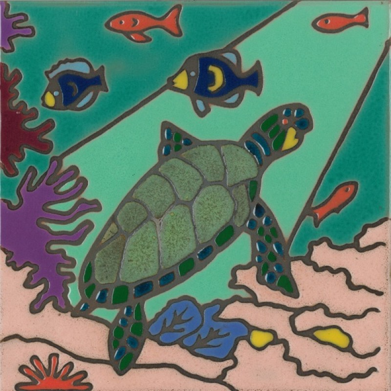 Sea Turtle Hand Painted Art Tile