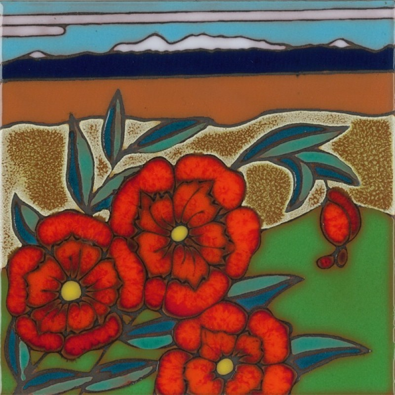 poppies hand painted art tile art tile designs62 art