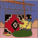 Navajo Weaver hand painted art tile