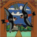 Capistrano Swallows - Hand Painted Art Tile