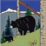 Black Bear & Cub - Hand Painted Art Tile