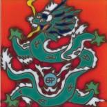 Tibetan Dragon - Hand Painted Art Tile