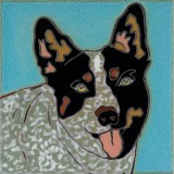Queensland Heeler Dog - Hand Painted Ceramic Tile