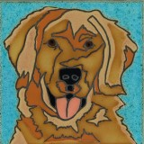 Golden Retriever - Hand Painted Art Tile
