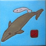 Grey Whale & Baby - Hand Painted Art Tile