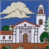 Santa Cruz Mission - Hand Painted Art Tile