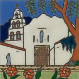 San Diego Mission - Hand Painted Art Tile
