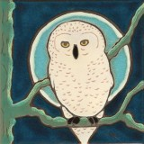 Snowy Owl - Hand Painted Ceramic Tile