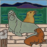 Sea Lions - Hand Painted Art Tile