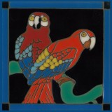 Catalina Red Parrots - Hand Painted Art Tile