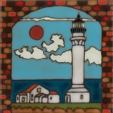 Lighthouse Point Arena - Hand Painted Art Tile