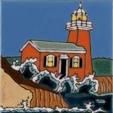 Lighthouse Santa Cruz - Hand Painted Art Tile