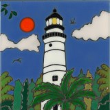 Lighthouse Key West - Hand Painted Art Tile