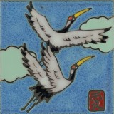 Japanese Sandhill Cranes - Hand Painted Art Tile