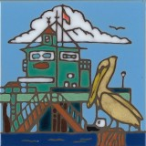 Pelican & Pier - Hand Painted Art Tile