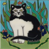 Black & White Cat - Hand Painted Art Tile