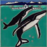 Humpback Whale & Baby - Hand Painted Art Tile