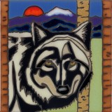 Wolf - Hand Painted Art Tile