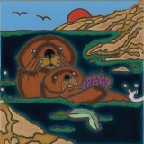 Sea Otter and Pup - Hand Painted Art Tile