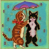 Kitties  Dancing in the Rain - Hand Painted Ceramic Tile