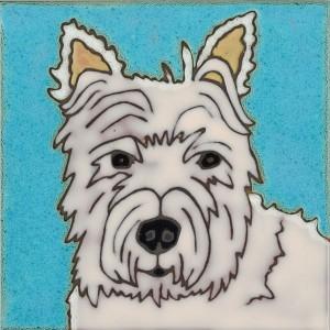 Westie Terrier - Hand Painted Art Tile
