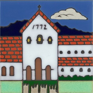 San Luis Obispo Mission - Hand Painted Art Tile