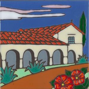San Juan Bautista Mission - Hand Painted Art Tile
