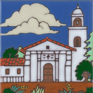 Santa Cruz Mission - Hand Painted Art Tile