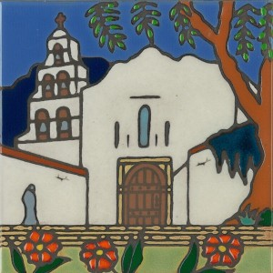 San Diego Mission - Hand Painted Art Tile