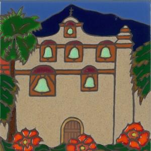 San Gabriel Mission - Hand Painted Art Tile
